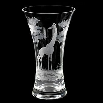 "10"" Crystal Vase from Queen Lace Crystal - Hand-engraved Crystal"