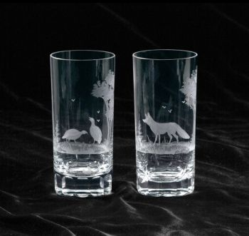 """10"""" Crystal Highball Glass from Queen Lace Crystal - Hand-engraved Crystal"""