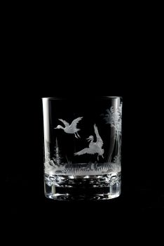 12 oz duck design - hand engraved Queen Lace crystal old fashioned glass