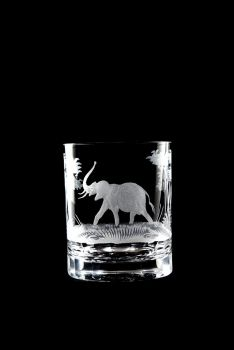 Elephant design - 12 oz. Old Fashioned Queen Lace Crystal