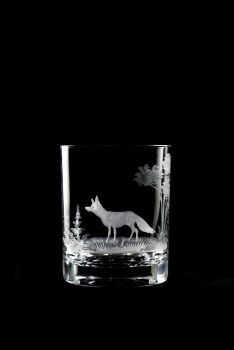 fox design - 12 oz old fashioned Queen Lace Crystal glass