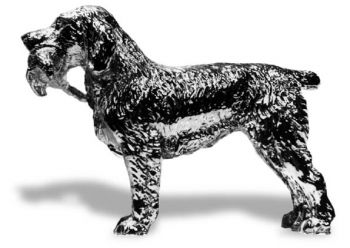 Springer Spaniel Standing with Bird Hood Ornament or Car Mascot by Louis Lejeune comes in chrome, bronze, enamel or gold plated