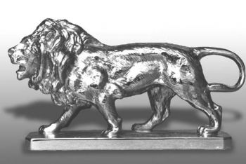 Lion Walking Hood Ornament or Car Mascot by Louis Lejeune comes in chrome, bronze, enamel or gold plated