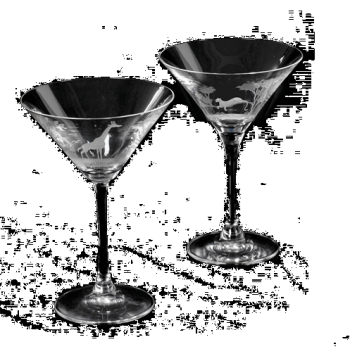 6 oz. Martini Glass- Queen Lace Crystal - Hand-engraved Crystal, Kenyan or American Wildlife Series