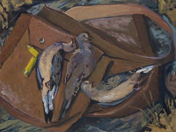 Oil Painting of Mourning Doves after a hunt