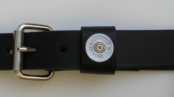 "1 1/4"" wide Shotshell Black Polished Nickel Leather Belt by Royden Leather Belts"