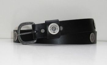 AA Multishot Black Silver Ox Leather Belt from Royden Leather Belts