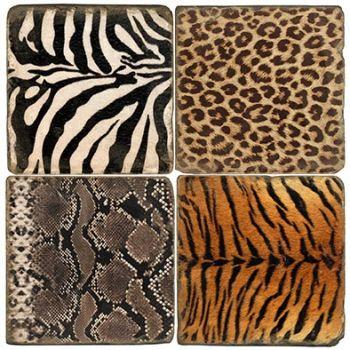African Animal Hide Italian Marble Coasters by Studio Vertu