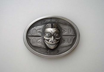 Alaskan Haida Bear Mask Pewter Sid Bell Buckle