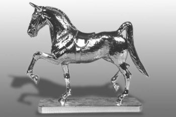 American Saddle Horse Hood Ornament or Car Mascot by Louis Lejeune comes in chrome, bronze, enamel or gold plated