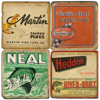 Antique Fishing Lures Italian Marble Coasters