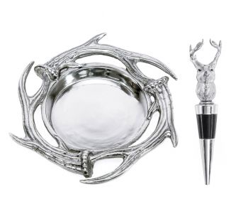 Antler Pewter Wine Coaster and Wine Stopper Set by Vagabond House