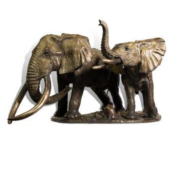 Askari Bull Elephant Bronze Sculpture by John Tolmay