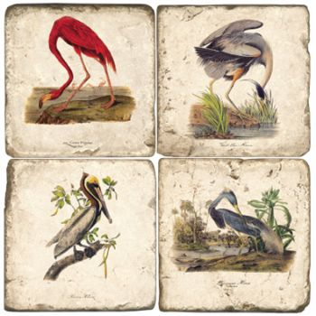 Audubon Birds Italian Marble Coasters and Giftware