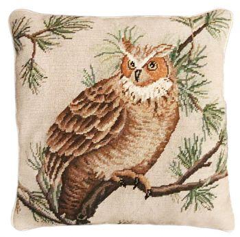 Barn Owl Needlepoint Pillow