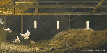 Spooked is a giclee print of barn pigeons by Suzie Seerey-Lester