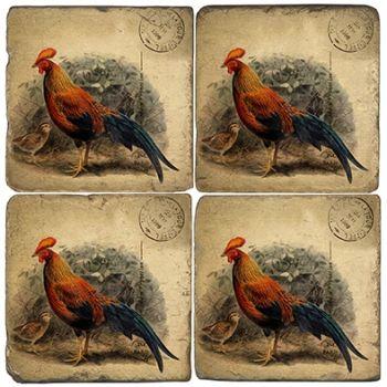 Barnyard Rooster Italian Marble Coaster
