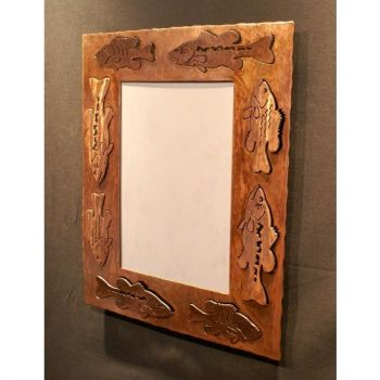 Bass and Pan Fish rustic metal mirror frame by Steel Appeal