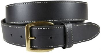 Baxter Leather Belt (Black color) with Contrast Stitching