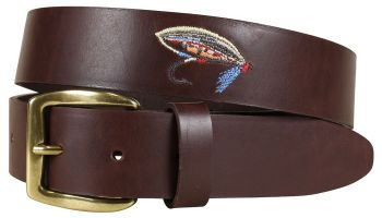 Embroidered Fishing Fly on Leather Baxter Belt by Belted Cow