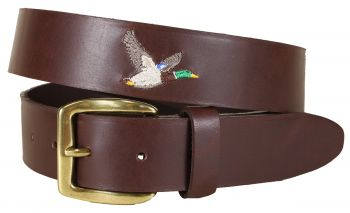 Embroidered Duck on Leather Baxter Belt by Belted Cow