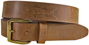 Embossed Striped Bass on Old Town Leather Baxter
