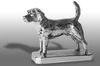Beagle Hood Ornament or Car Mascot by Louis Lejeune comes in chrome, bronze, enamel or gold plated