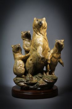Distant Sound is a limited edition bronze sculpture of a bear and her cubs by Ronnie Wells