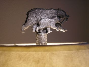 Bear with Cub Pewter Lamp Finial by Sid Bell Originals