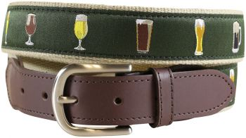 Ales and Lagers Leather Tab Belt by Belted Cow