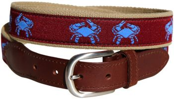 Belted Crab (Burgundy) Leather Tab Belt - Belted Cow