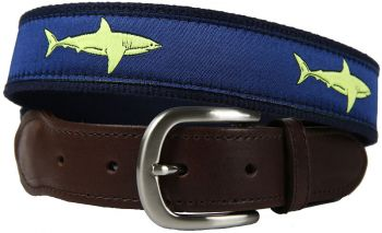 Shark Lime Green Color Leather Tab Belt by belted Cow