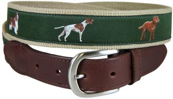 Sporting Dogs Leather Tab Belt by Belted Cow