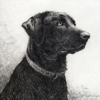 Best Friend is an etching by Melanie Faon