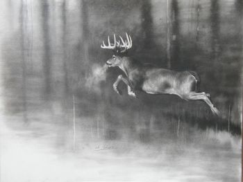 Better Part of Valor signed print of a deer by Cole Johnson