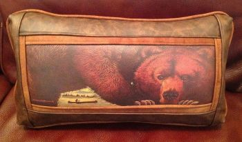 Big Black Bear Kidney Leather Pillow