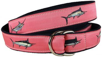 Billfish Coral Color D Ring Belt by Belted Cow