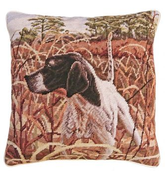 Bird Dog Needlepoint Pillow featuring and English Pointer on point by Michaelain Home
