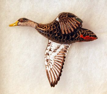 Black Duck Hand Carved Wood Pin by Dick Cook