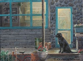 Waiting for his Master is a black lab original acrylic painting by Suzie Seerey Lester