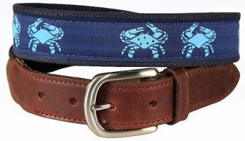 Belted Crab Navy Color Leather Tab Belt by Belted Cow
