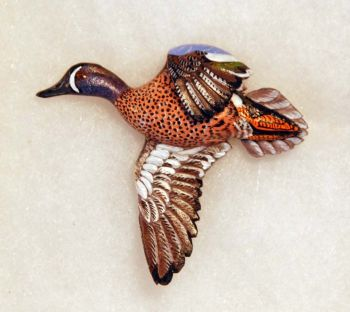 Blue Winged teal Hand Carved Wood Pin by Dick Cook