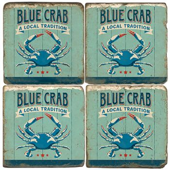 Blue Crab Italian Marble Coasters and Giftware