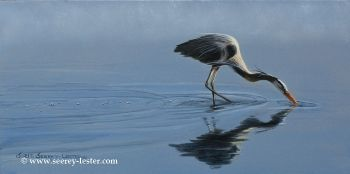 Blue Tranquility is the name of a Blue Heron acrylic painting by Suzie Seerey-Lester