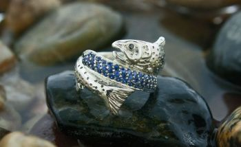 Blue Ribbon Trout silver or gold ring by Tight Lines Jewerly
