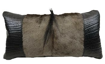 Blue Wildebeest and Cape Buffalo Hide Mane Pillow