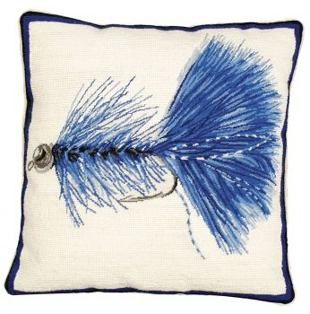 Blue Wooly Bugger Needlepoint Pillow by Michaelian Home