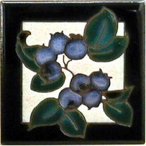 Blueberries Ceramic 4 x 4 Tile by Maanum