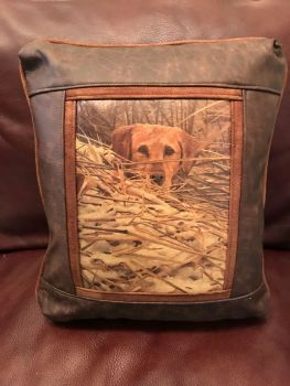 Yellow Lab Hunting Leather Pillow