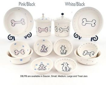 Boneware white design dog bowls by Petware Pottery